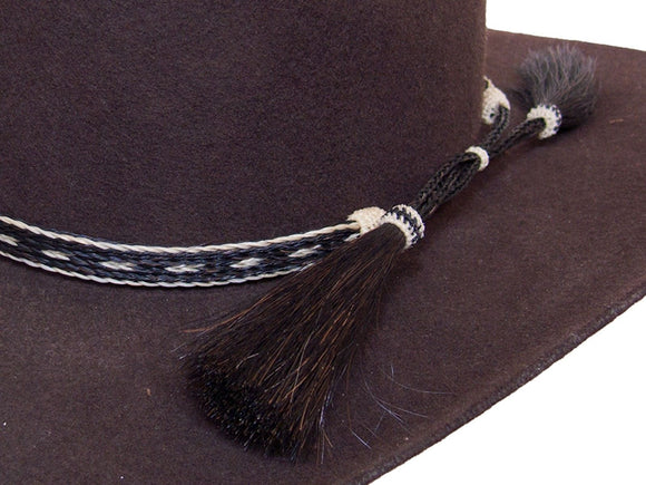 Horse Hair Cowboy Hat Band Black and White With 2 Tassels detail