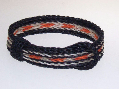 Braided Horse Hair Bracelet One Size Fits All Orange/White with Black WIDE