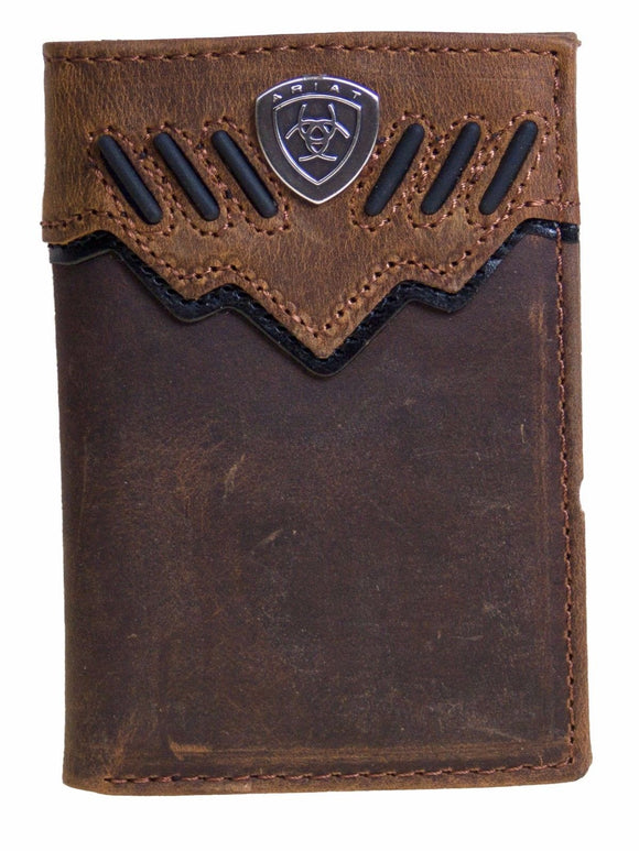 Ariat Mens Western Wallet/Tri-fold/Brown/Raised Black Stripes front