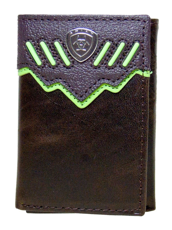Dark Brown Tri-fold with Raised Lime Green Stripes Ariat Wallets