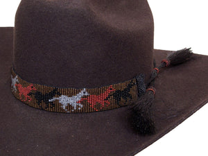 Beaded Cowboy Hat Band with 2 Horse Hair Tassels Running Horses detail