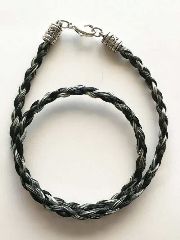 Horse Hair Necklace French Braid Black  Salt/Pepper NO EXTENDER 16 in front