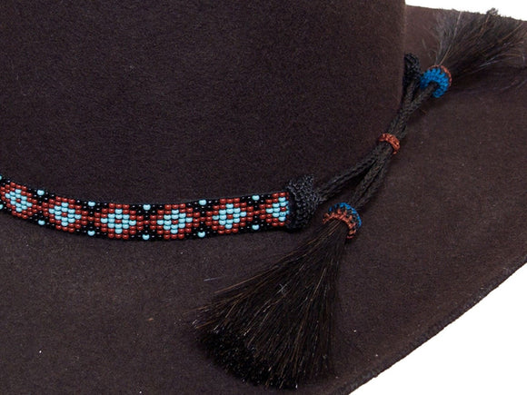 Beaded Cowboy Hat Band with 2 Horse Hair Tassels Diamond Design detail