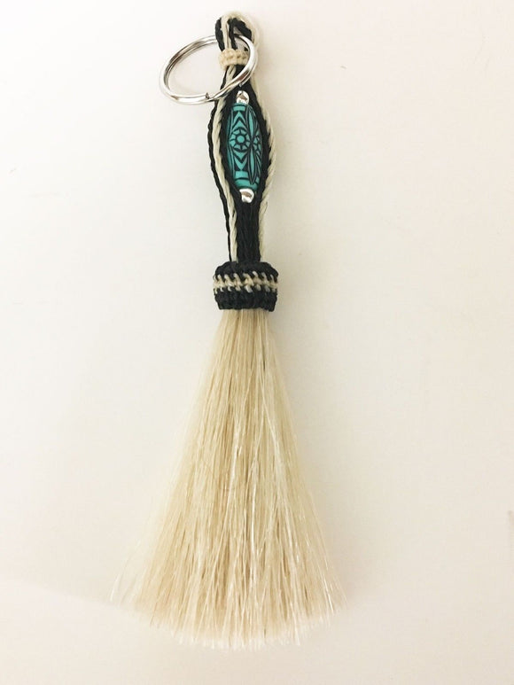 Western Braided Horsehair Key Chain / White with Turquoise