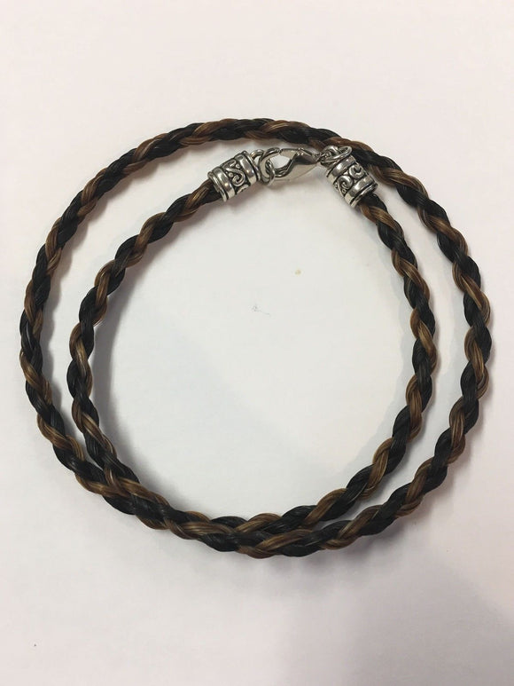 Western Necklace Braided Horse Hair 6mm Black with Brown NO EXTENDER Decorative Tips