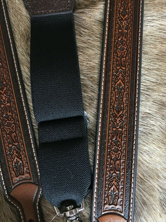 Western Leather Suspenders/Galluses Tooled Nocona Brown detail