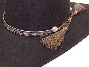Horse Hair Cowboy Hat Band Brown, Black and White With 2 Tassels detail