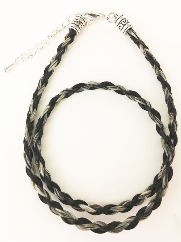 Western Necklace French Braided Horse Hair  6mm  Black and Salt/Pepper