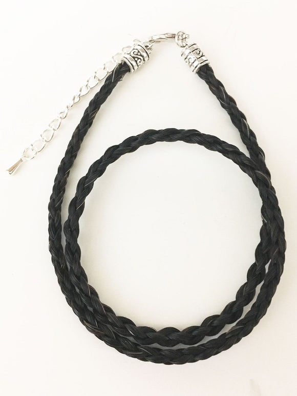 Western Necklace French Braided Horse Hair  6mm  Black