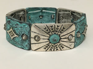 Blazin Roxx Bracelet Silver/Copper Patina Stretch Fit Front
