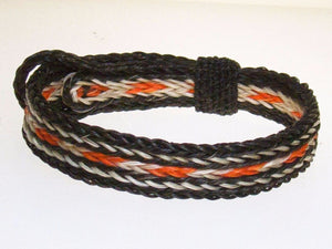 Braided Horse Hair Bracelet One Size Fits All Orange/White with Black WIDE front