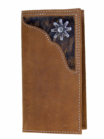 Nocona YOUTH Western Rodeo Leather Wallet/Rowel/Cow Hair/Brown front