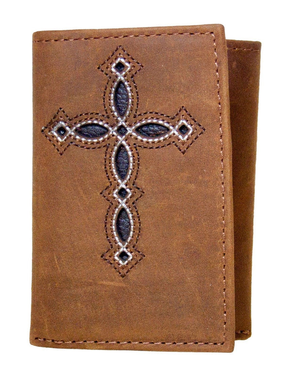 Tri-fold Decorative Cross Medium Brown Ariat Western Wallet front