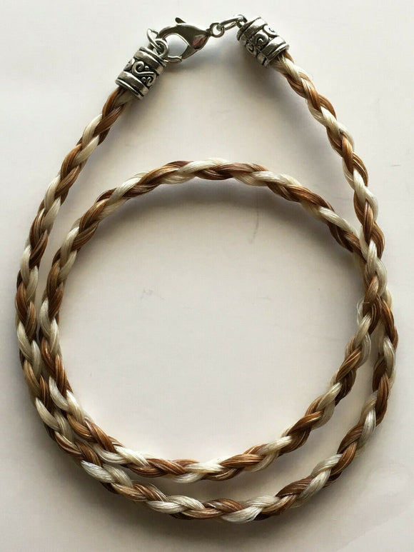 Horse Hair Necklace French Braid 6mm Brown/ White NO EXTENDER 16 inch front