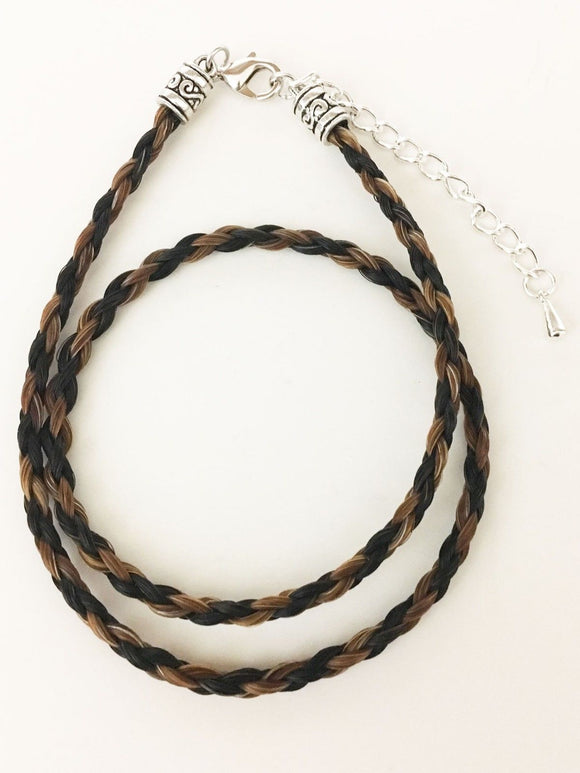 Western Necklace French Braided Horse Hair  6mm  Black with Brown