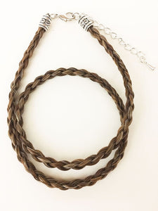 Western Necklace French Braided Horse Hair  6mm  Brown