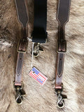 USA Made Western Leather Suspenders/Galluses Heavy Duty Brown detail 2