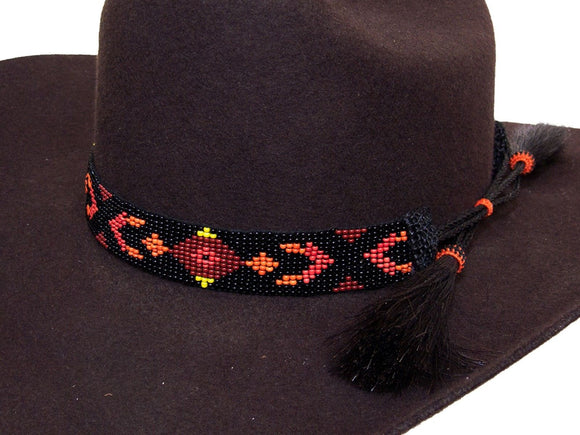 Beaded Cowboy Hat Band with 2 Horse Hair Tassels Southwest Design detail