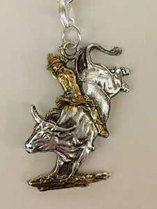 Bull Rider Key Chain Key Ring Silver/Gold