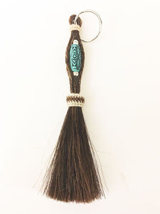Western Braided Horsehair Key Chain / Brown with Turquoise