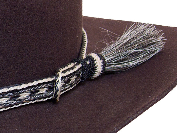 Horse Hair Cowboy Hat Band Salt and Pepper With Tassel detail