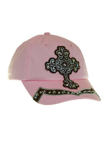 Cowgirl Western Baseball Cap/Blazin Roxx/Cowgirl Cross/Pink and Brown/Bling front