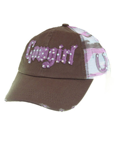 Cowgirl Western Baseball Cap/Blazin Roxx/Cowgirl/Brown and Pink/Mesh/Distressed/Bling front