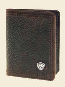 Ariat Bifold Wallet Performance Work Flipcase Dark Brown Rowdy front