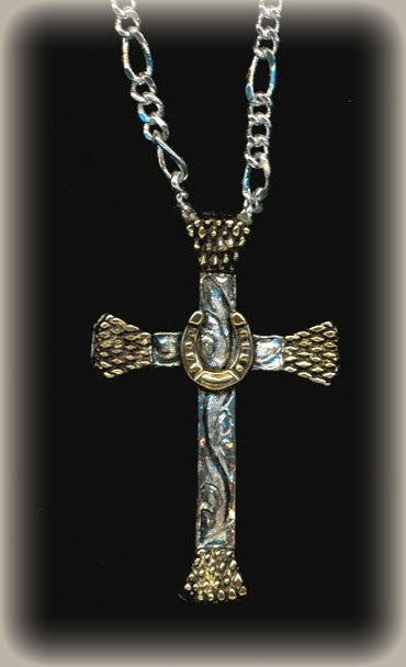 Mens Cowboy Cross Necklace Horse Shoe Sterling/24k Gold/with Chain front