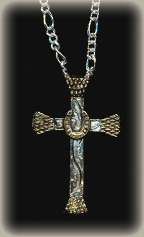 Horse Shoe Cowboy Cross Necklace Sterling/24k Gold/ Antiqued/ with Chain front