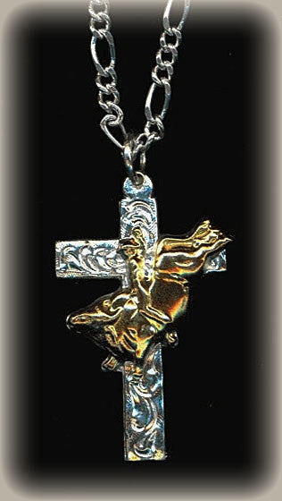 Bull Riding Cross Necklace/Silver & 24K Gold/Silver Chain Included front