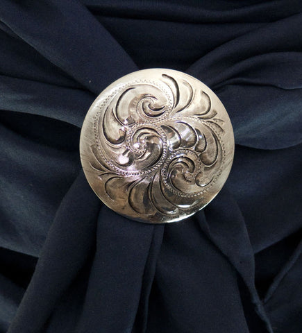 Silver Scarf Slide 1-1/2 inch Engraved Plated front