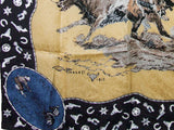 Ltd. Jacquard Print CM Russel Tan Western Cowboy Silk Wildrag Bandana Buckaroo Scarf print close up