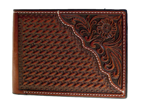 Nocona Mens Western Bi-Fold Wallet/Tooled