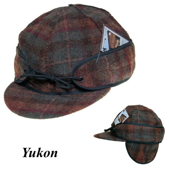 Wool Cap FOLD DOWN EAR FLAPS Wyoming Traders Rust/Tan Plaid Outside Seams