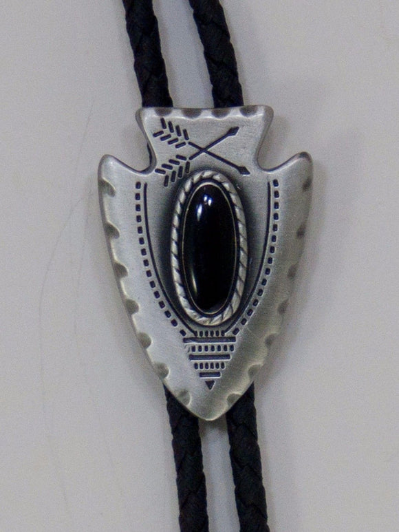 Arrow Head Silver with Black Stone Western Bolo Neckties close