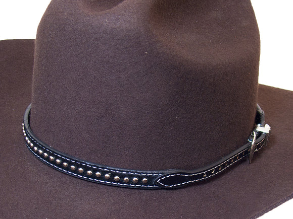 Cowboy Hat Band Black Studded Calf Hair Decorative Buckle Tip / Keeper