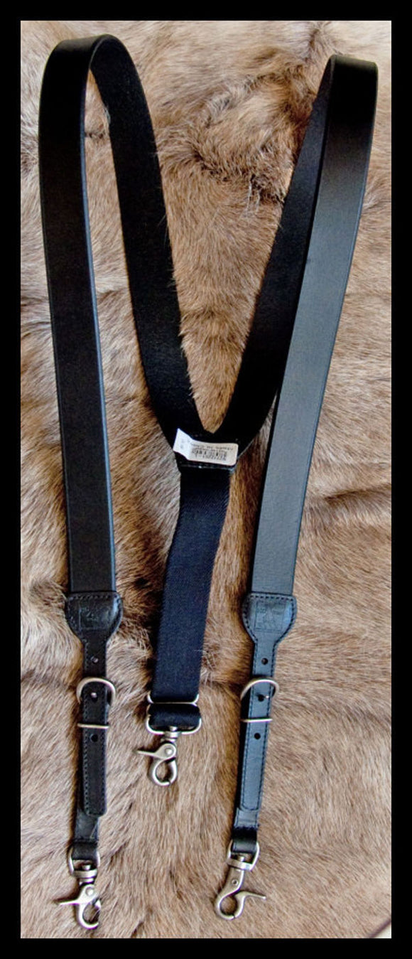 Western Leather Suspenders/Galluses Heavy Duty HDX by Nocona Black
