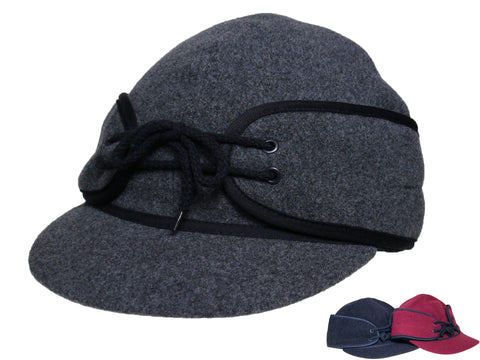 Winter Wool Cap/Fold Down Ear Flaps/Wyoming Traders charcoal front