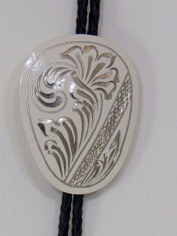 Hand Engraved Design Off White Cowboy Bolo Ties close