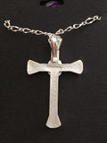 Horse Shoe Cowboy Cross Necklace Sterling/24k Gold/ Antiqued/ with Chain
