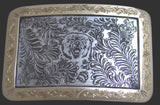 Handmade Engraved Sterling Silver Belt Buckle/Bear/One Of A Kind USA front