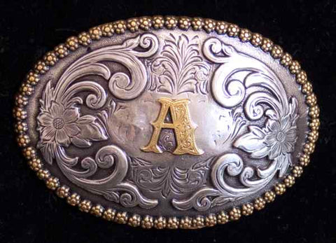 "Nocona Western Cowboy Cowgirl Initial ""A"" Oval Belt Buckle front"