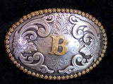 "Nocona Western Cowboy Cowgirl Initial ""B"" Oval Belt Buckle front"