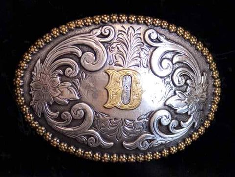 "Nocona Western Cowboy Cowgirl Initial ""D"" Oval Belt Buckle front"