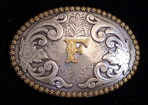 "Nocona Western Cowboy Cowgirl Initial ""F"" Oval Belt Buckle front"