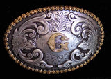 "Nocona Western Cowboy Cowgirl Initial ""G"" Oval Belt Buckle front"