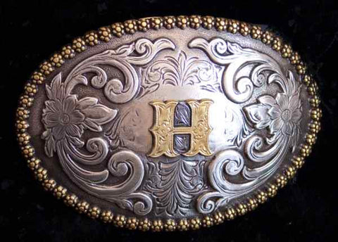 "Nocona Western Cowboy Cowgirl Initial ""H"" Oval Belt Buckle front"