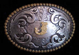 "Nocona Western Cowboy Cowgirl Initial ""J"" Oval Belt Buckle front"