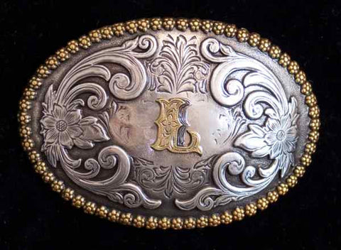 "Nocona Western Cowboy Cowgirl Initial ""L"" Oval Belt Buckle front"